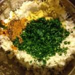 La mezcla para las koftas